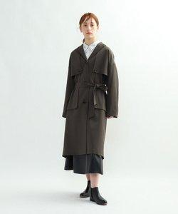 ウール混ステンカラーコート