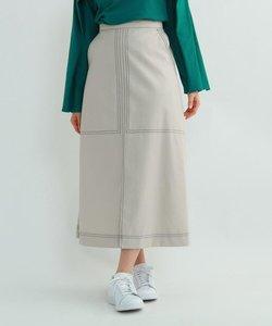 【ウォッシャブル】配色ステッチセンタースリットロングスカート