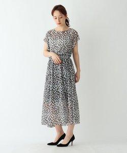 【ウォッシャブル】シアーレオパード柄ノースリーブワンピース