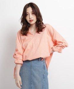 【ウォッシャブル】綿麻ローンスキッパーツイストスリーブシャツ