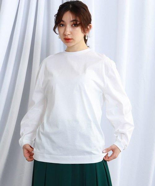 【ウォッシャブル】スリーブタックデザインロングTシャツ