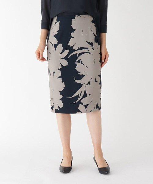 コネクトフラワーミモレタイトスカート
