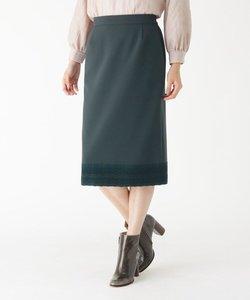 裾レースストレッチミモレタイトスカート