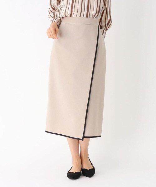 配色パイピングラップ風スカート