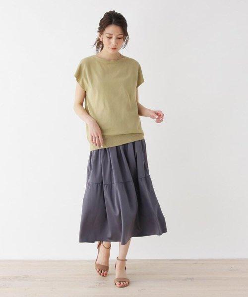 <WEB限定・LLサイズあり><SET>ドライタッチニット×サテンスカートセット