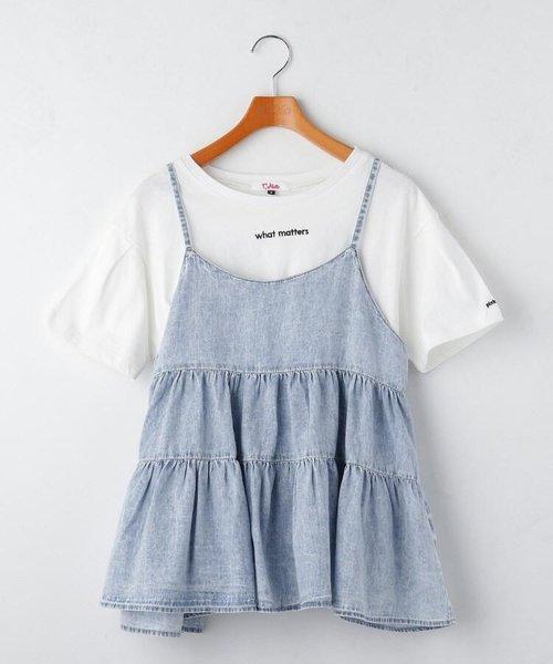 ティアードキャミソール+Tシャツシャツセット