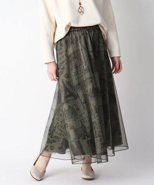 パリモチーフプリントチュールレイヤードスカート