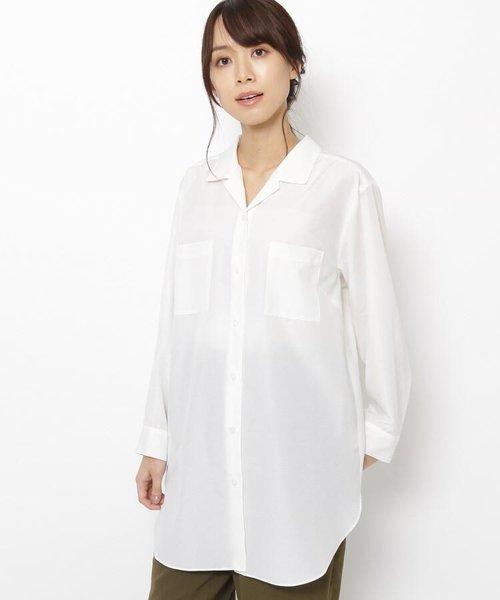 【手洗い可】開襟ロングシャツ