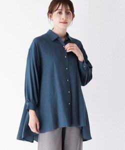 ウールコットン(綿)フレアロングシャツ