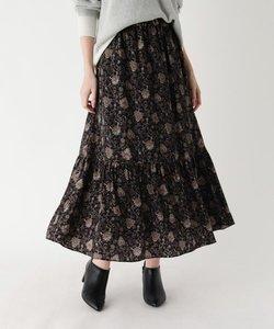 【手洗い可】ボタニカル柄ロングフレアスカート