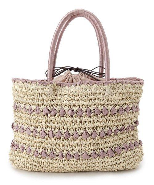 ボーダー編み巾着かごバッグ