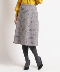 【洗える】ストームフラワー刺繍入りスカート