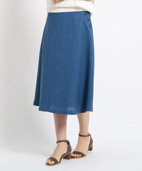 【洗える】フェイクボタンフレアスカート