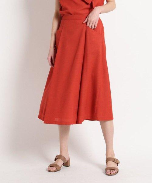 【洗える】リネンライク ツイルスカート