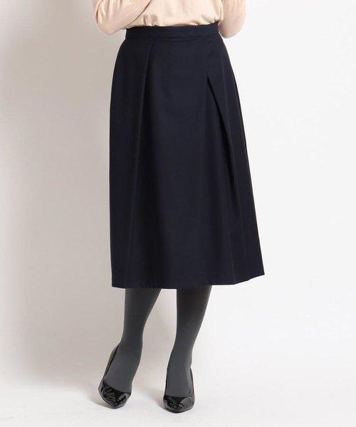 【洗える】ストレッチタックフレアスカート