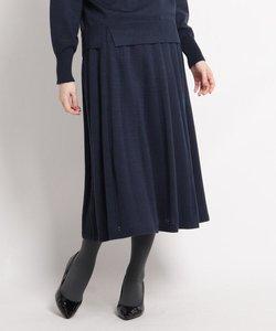 【洗える】ウール混フレアニットスカート