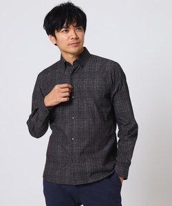 千本格子プリント ビジネスシャツ