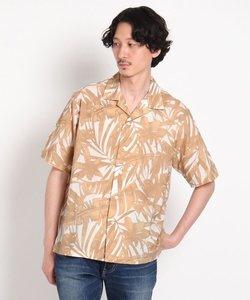 コーヒー/インディゴ染料プリント ボタニカル総柄 半袖シャツ