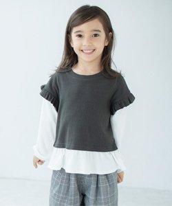 【ママとリンクコーデ】フェイクレイヤードロングTシャツ
