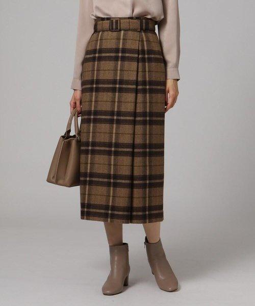 「L」カベルニチェックラップ風スカート