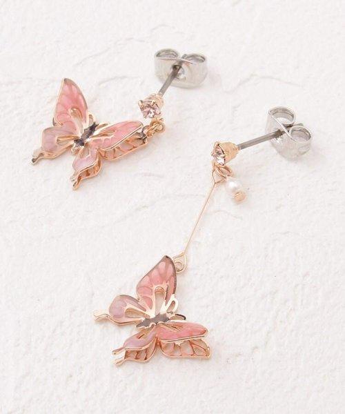 立体蝶アシメピアス
