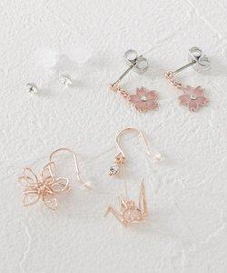 桜×立体鶴モチーフセットピアス