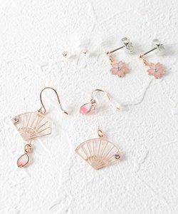 桜×扇子モチーフセットピアス