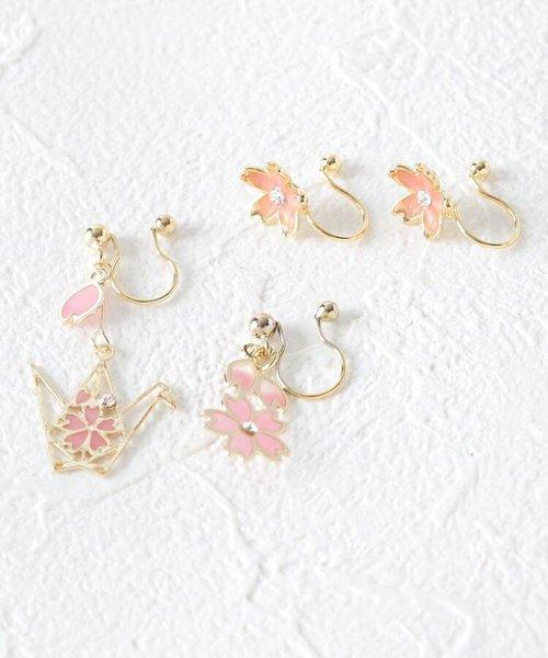 桜×折鶴ノンホールピアスセット