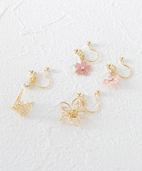 桜×鶴 立体ノンホールピアスセット