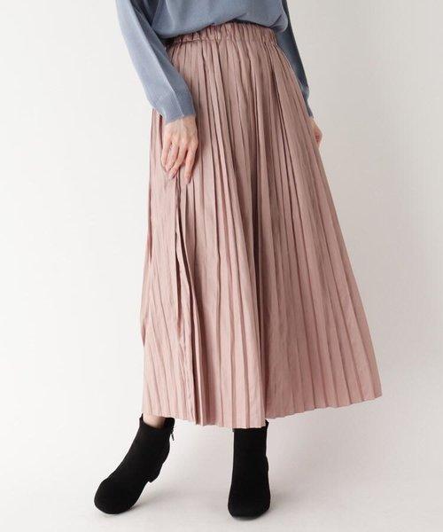 ナイルサテンレザー風プリーツスカート