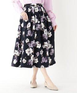 ウエストタック花柄フレアスカート