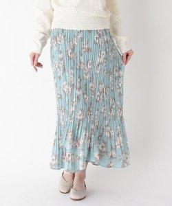 プリーツフラワーラップスカート