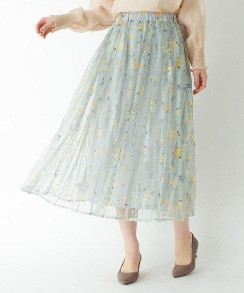 フラワー柄チュールプリーツロングスカート