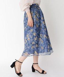 ミックスカラー花柄レーススカート