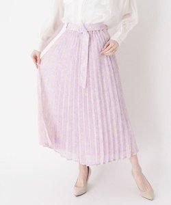 ベルテッドフラワープリーツスカート