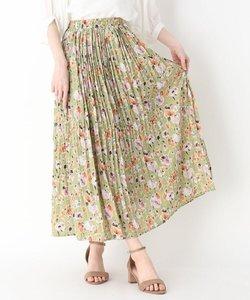 ランダムプリーツ花柄スカート