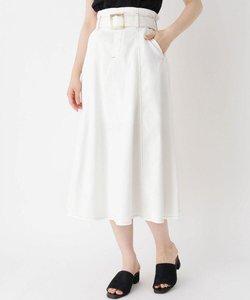 共布ベルト付きシャンブレーロングスカート
