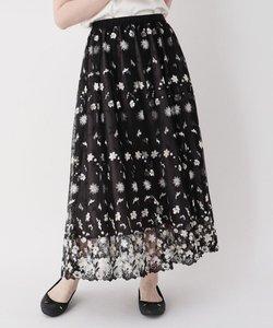 【LIZA(リザ)】フラワー刺しゅうチュールロングスカート