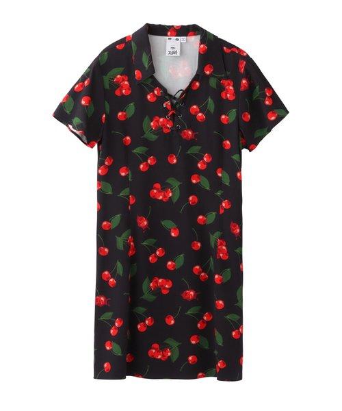 CHERRY LACE-UP DRESS