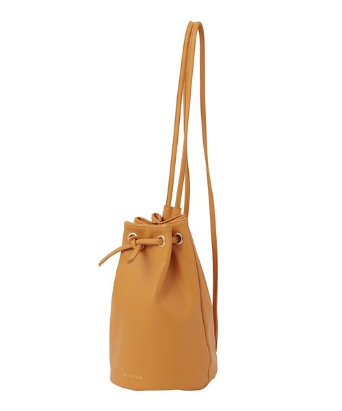FAUX LEATHER DRAWSTRING BAG