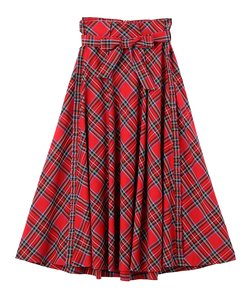 PLAID SIDE RUFFLE SKIRT