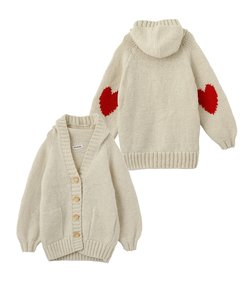 HEART  ELBOW KNIT CARDIGAN