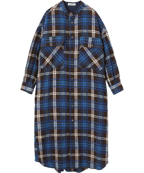 PLAID STAND COLLAR DRESS