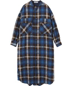 PLAID STAND COLLAR DRESS