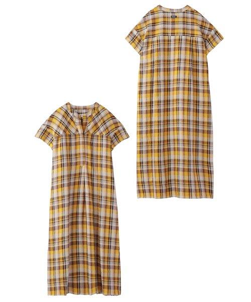 PLAID STAND COLLAR SHIRT DRESS
