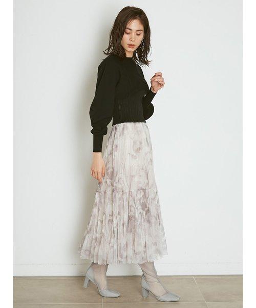 チュールタイダイスカート