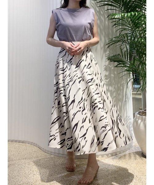 Sustainaフレアボリュームプリントスカート
