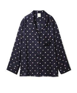 バイカラーハートサテンシャツ