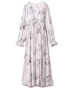 【ミュシャと椿姫】椿モチーフロングスリーブドレス