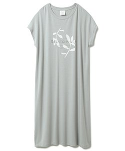 リネンミックスレーヨンロゴドレス